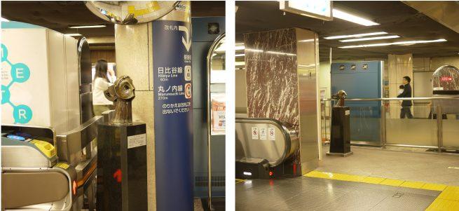 メトロ銀座駅改札内にあるマーキュリー像2体