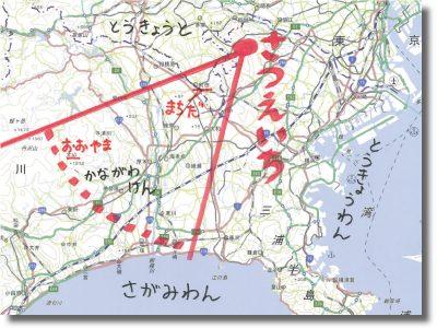王禅寺見晴らし公園からどこがみえているのかを地図でしめした