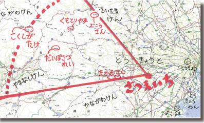多摩パノラマの丘からどこがみえているのかを地図でしめした