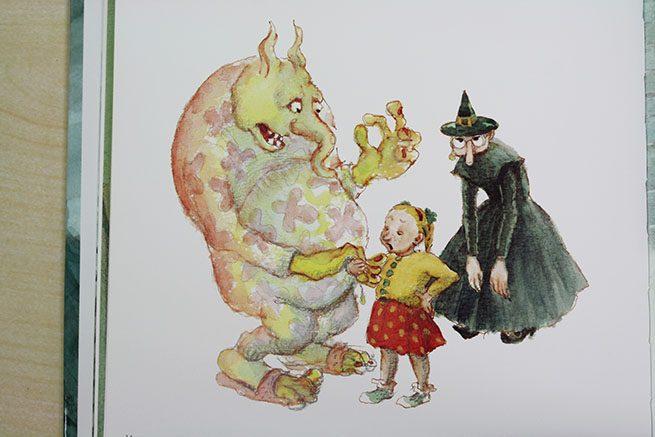 絵本『おばけやしきへようこそ!』魔女とトロルと女の子のイラスト