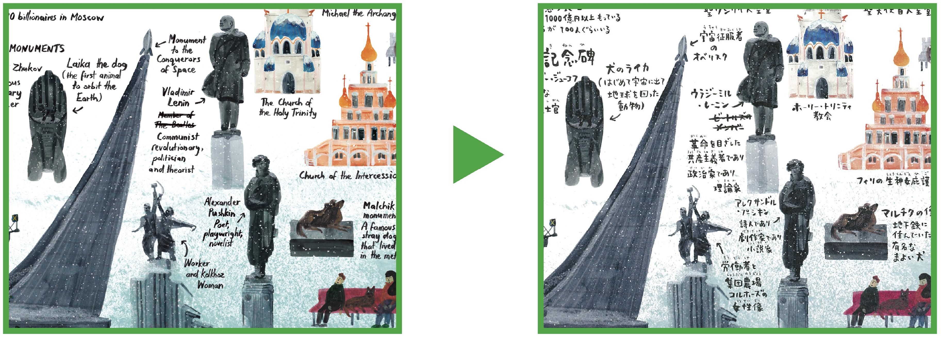 左に英語の絵本のページ、右に同じ構図で日本語版